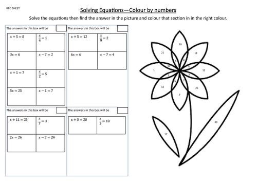 Colour by numbers - Solving simple linear Equations - Differentiated worksheets