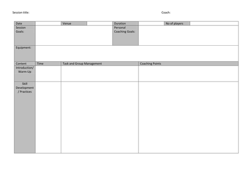 generic lesson plan template - sport leader session plan template by uk teaching