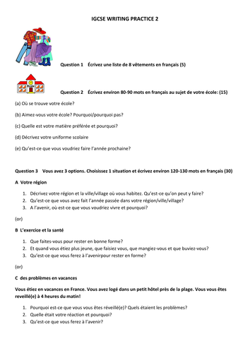 igcse french continuous writing paper
