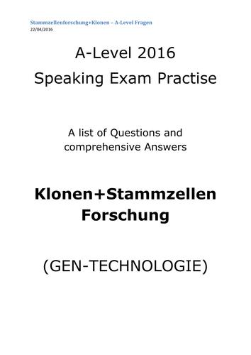 A2 German Speaking Test Questions and Answers - Klonen+Stammzellenforschung - GEN-TECHNOLOGIE