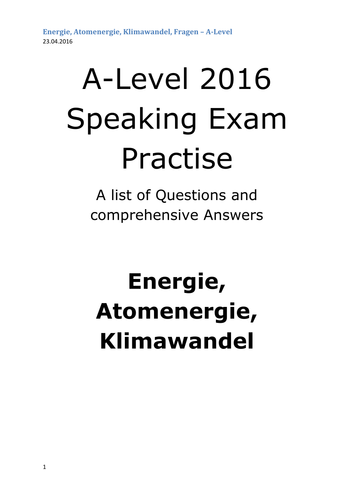 A2 German Speaking Test Questions and Answers - Atomenergie, Klimawandel - ENERGIE