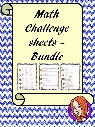 Math Challenge Sheets Bundle