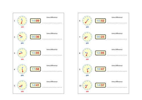 Worksheets - Simple Maths with Clock Faces, Digital and Analogue.