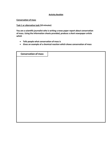 Conservation of mass, balancing equations activity booklet