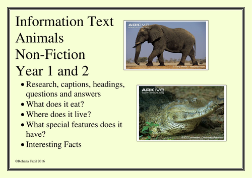Information Writing Non Fiction Animals Unit Year 2 and Year 1