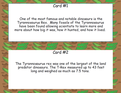 Read and Write the Room Tyrannosaurus Rex Scavenger Hunt