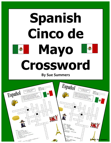 Spanish Cinco de Mayo Crossword Puzzle Worksheet and Vocabulary