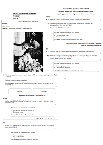 ALL history exam papers Germany history B 1918-1945 EDXECEL
