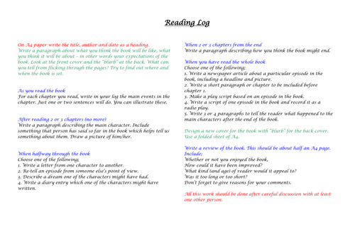 Reading Log with book review sheets