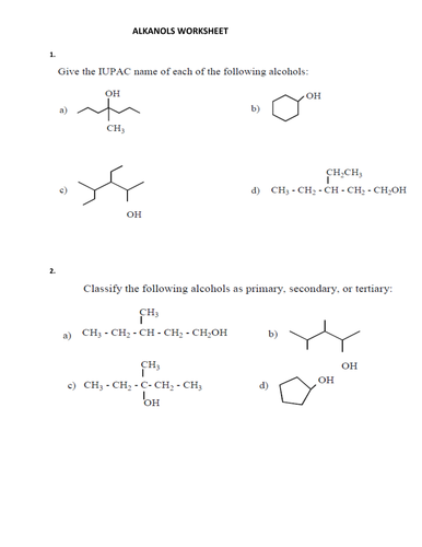 NAMING (ALCOHOLS) ALKANOLS WORKSHEET WITH ANSWER KEY by ...