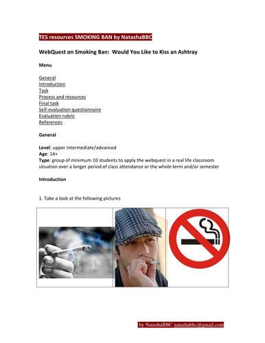 TES resources SMOKING BAN webquest by NatashaBBC