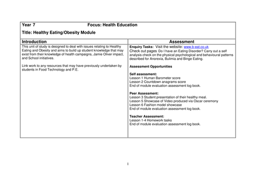 Healthy Eating Year 7 PSE Scheme of Work and resources