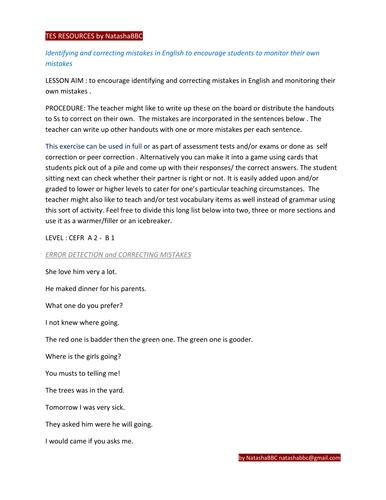 TES resources Identifying and correcting mistakes by NatashaBBC