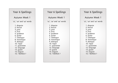 Year 6 Spellings - inline with National Curriculum 2016 incorporating Y5&6 word lists