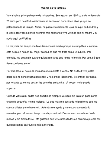 Help With Spanish Essay On Family Needed! Please!!!?