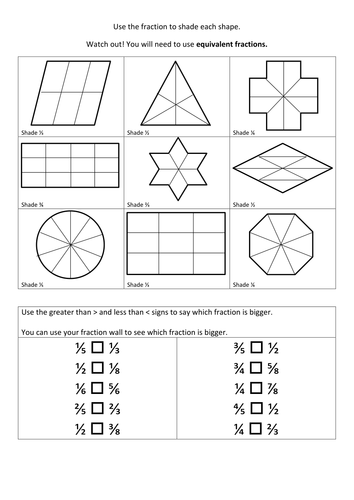 Fraction Shapes Worksheet & equivalent fractions of shapes by ...