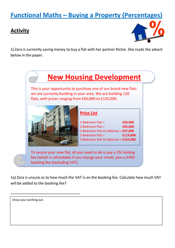 Functional Maths Activity (L1 - L2) - Buying a Flat (and GCSE)
