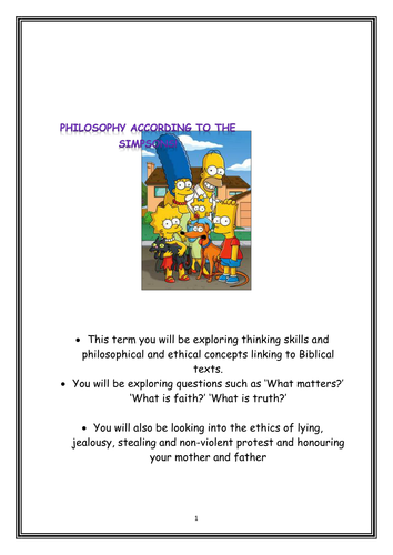 Unit of Work on Philosophy and the Simpsons