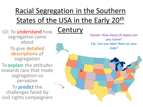 Segregation in the Southern States of the USA