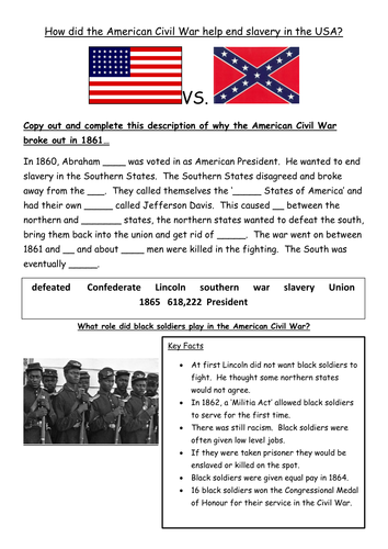 Worksheets Civil War Worksheets american civil war worksheets sharebrowse and slavery presentation worksheet by