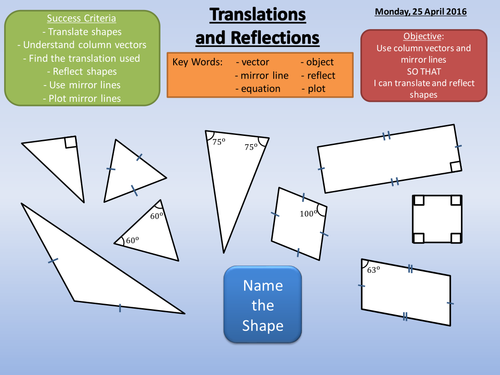 Translations and Reflections Lesson + Worksheets