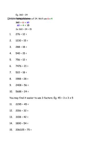 Division using factors