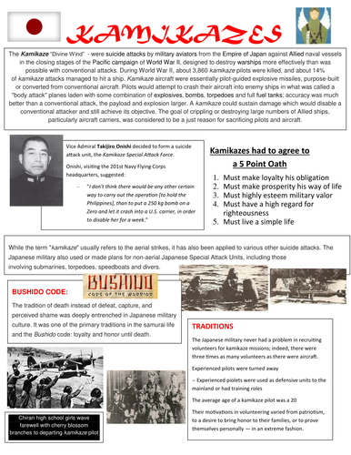 Kamikaze Reading Handout and Kamikaze Worksheet