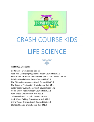 Life Science: Crash Course Kids Youtube Questions _ 13 Episodes bundle