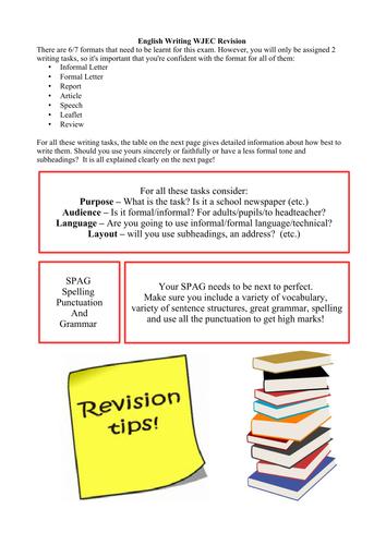 WJEC Writing Exam June 2016 Revision