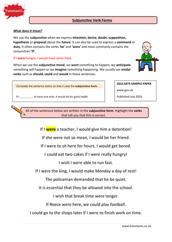 KS2 Grammar Subjunctive Verb Forms with answers