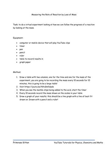 Rates Of Reaction Worksheet Tes - Worksheets