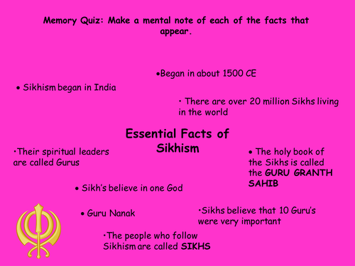Memory game on facts about Sikhism
