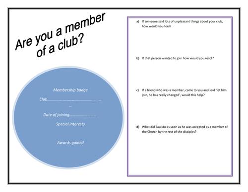 Conversion of Saul 'Club' activity worksheet