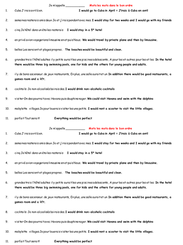 Conditional tense and holidays worksheet
