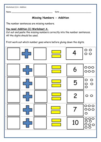cutpaste activities  addition  number bonds equations  activity  cutpaste activities  addition  number bonds equations  activity sheets   teachers notes by romilli  teaching resources  tes