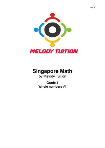 Grade 1 Whole numbers worksheet #1 - Singapore Math