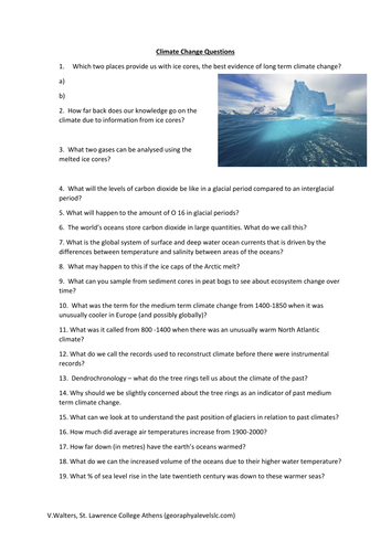 Climate Change Questions (A Level)
