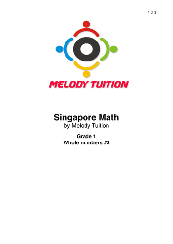 Grade 1 Whole Numbers (Spelling Numbers) worksheet #3 - Singapore Math