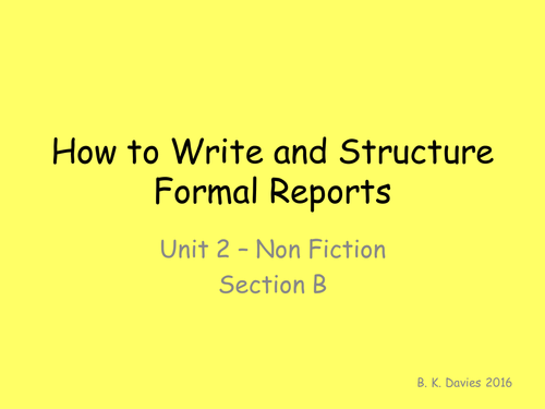 Formal Report Writing PowerPoint English Language