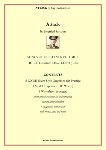 Attack by Siegfried Sassoon_5 IGCSE Style Questions_1 Worksheet_1 Model Response 1003words