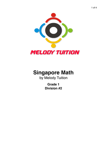 Grade 1 Division worksheet #2 - Singapore Math by moomel ...