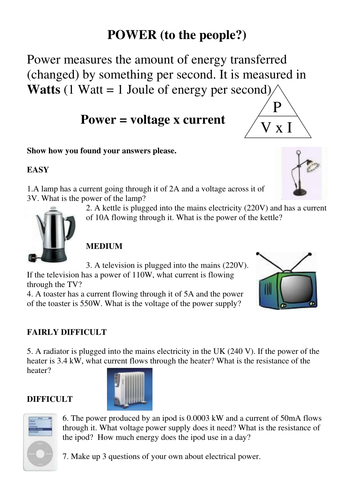 Electrical Power And Energy Calculations Worksheet Answers