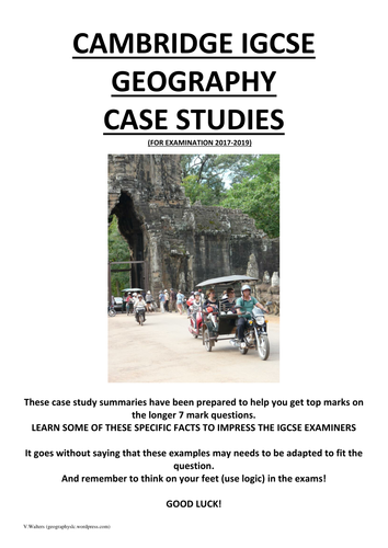 Cambridge IGCSE Geography case study summaries