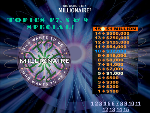 """WAVES """"Who wants to be a Millionaire"""" revision PowerPoint"""