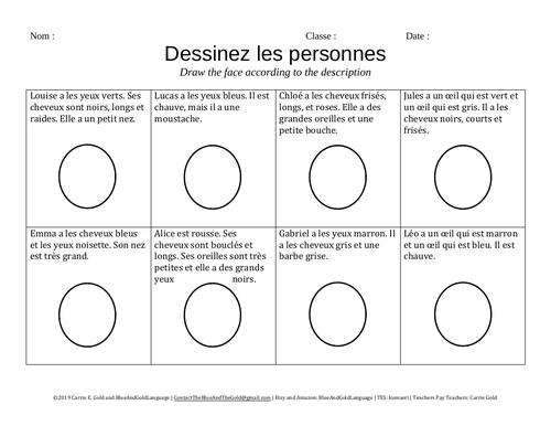 Describing People Practice: Draw the Faces