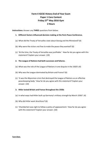 IGCSE History Paper 1 Mock Exam by imhowarth | Teaching Resources