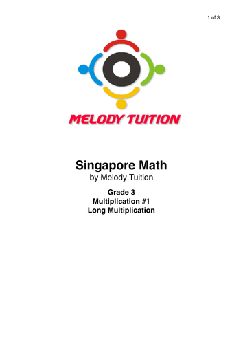 Grade 3 Multiplication worksheet #1 - Singapore Math
