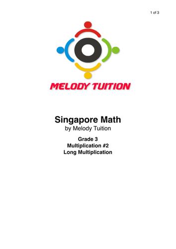 Grade 3 Multiplication worksheet #2 -Singapore Math