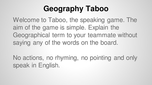 KS3 Geography: Key Terms Taboo game