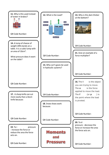 Key Stage 3 Moments and Pressure QR Code Revision Worksheet